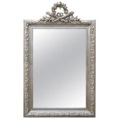 Antique French Silver Mirror with Pediment, circa 1900