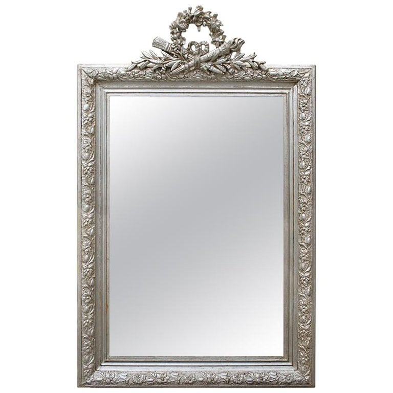 Antique French Silver Mirror with Pediment, circa 1900 For Sale