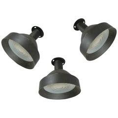 Set of Three 1950s Enameled Ceiling Lights by Lightolier