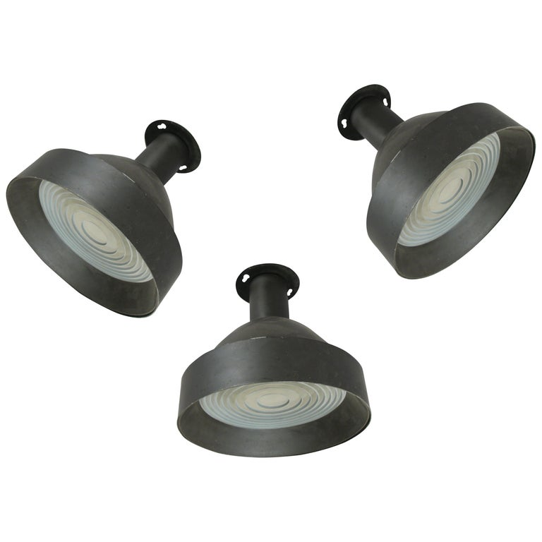 Set of Three 1950s Enameled Ceiling Lights by Lightolier For Sale