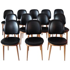 "12 French 1960s Beech and Naugahyde ""Pégase"" Chairs by Baumann"