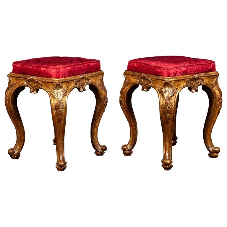 A Pair of Italian 18th Century Gilt-wood Stools Roma 1750 For Sale