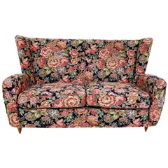 Floral Fabric Sofa by Paolo Buffa with Wooden Legs, Italy, 1950s