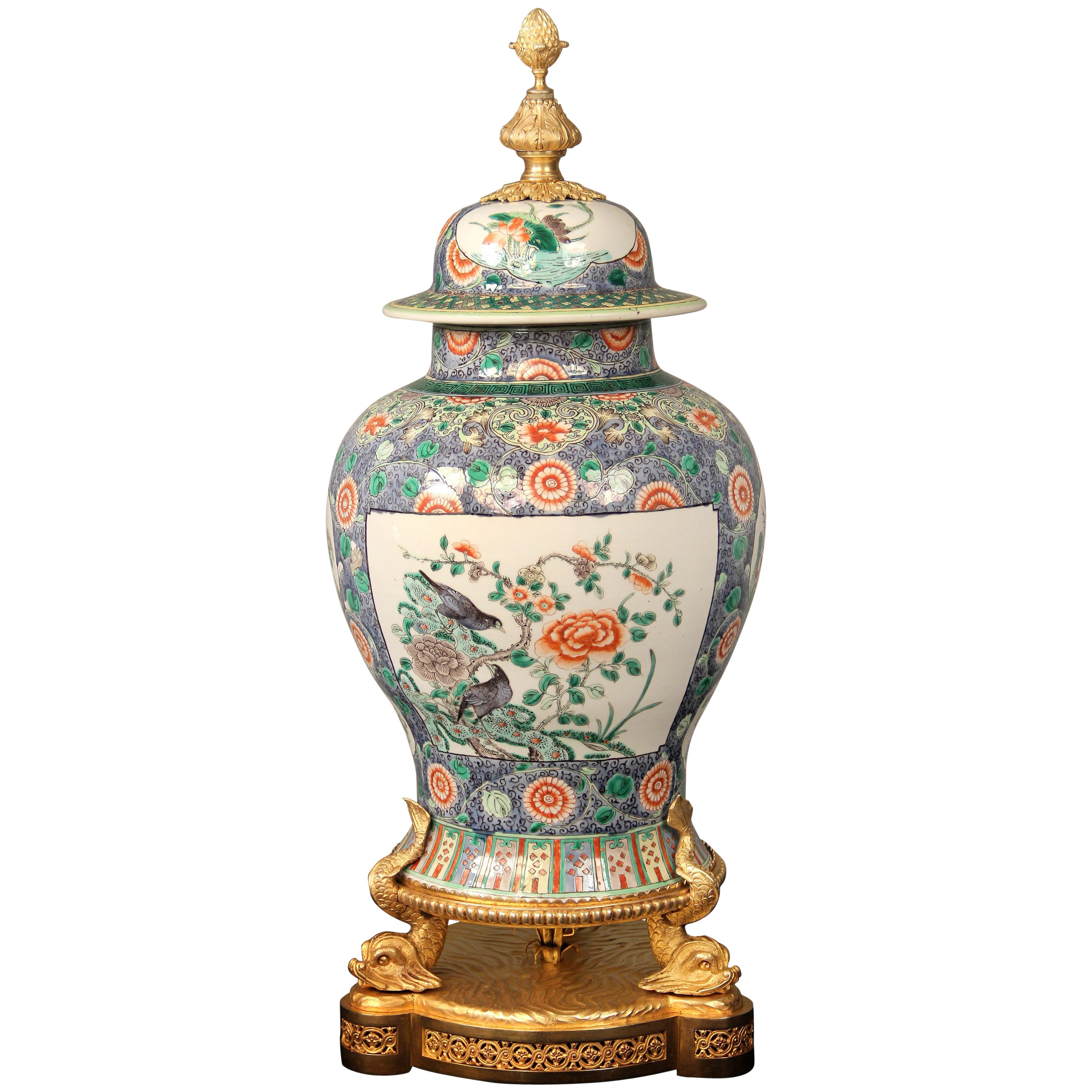 Late 19th Century French Gilt Bronze Mounted Chinese Porcelain Vase