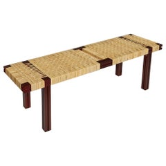 Red Aluminium Bench with Lapping Cane Seating from Anodised Wicker Collection