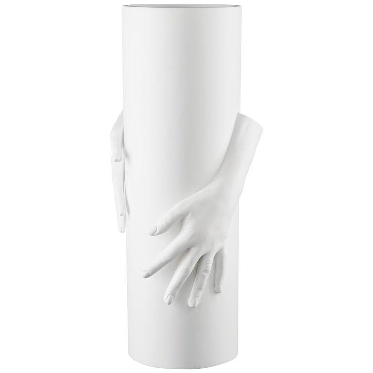 Vase Hands, Matt White Ceramic, Italy For Sale