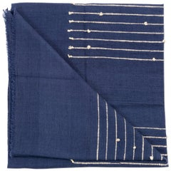 Handloom  ROSEWOOD INDIGO Merino Throw / Blanket In Stripes Design