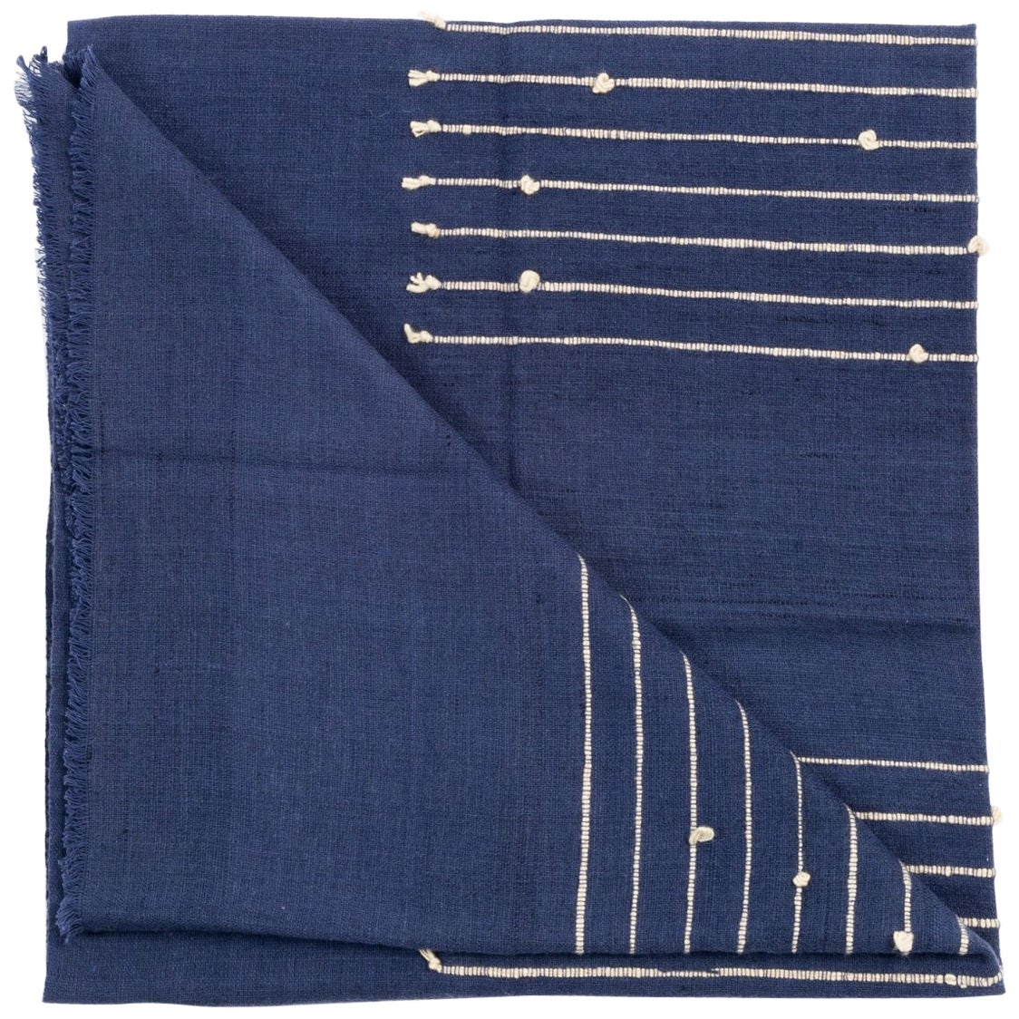 ROSEWOOD INDIGO Merino Cotton Handloom Throw / Blanket In Stripes Design