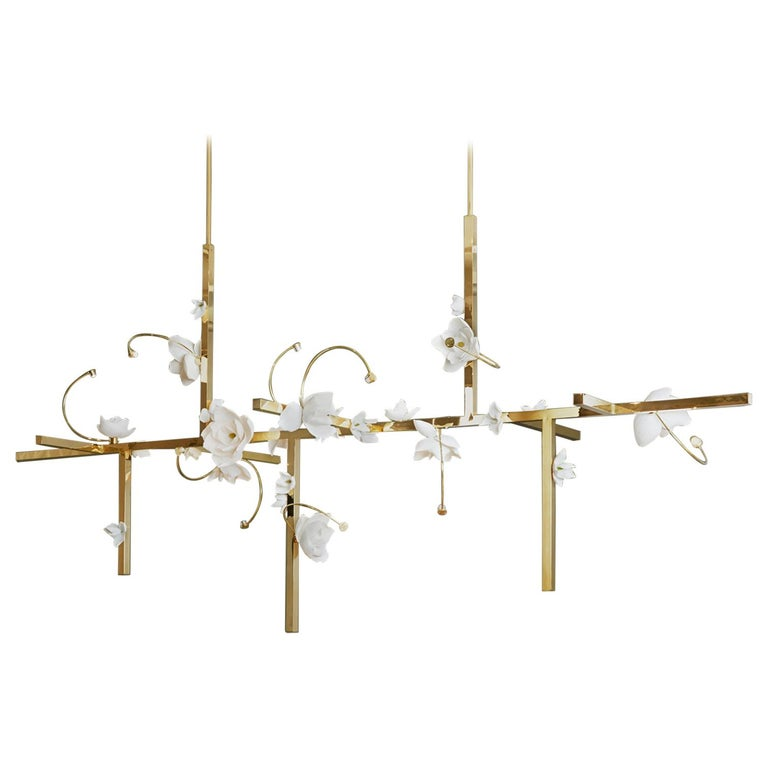 Lure Chandelier 12 in Polished Brass by Pelle For Sale