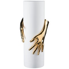 Vase Hands, White and Gold Ceramic, Italy