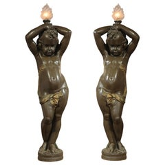Beautiful Pair of Putti Torcheres by Durenne and Carrier-Belleuse