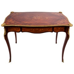19th Century Louis XV French Inlaid Bureau Plat 'Writing Desk'