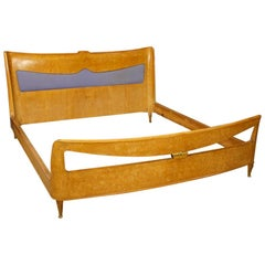 20th Century Carved Wood Italian Design Double Bed, 1950