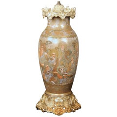 Fine Late 19th Century Gilt Bronze and Japanese Satsuma Porcelain Vase