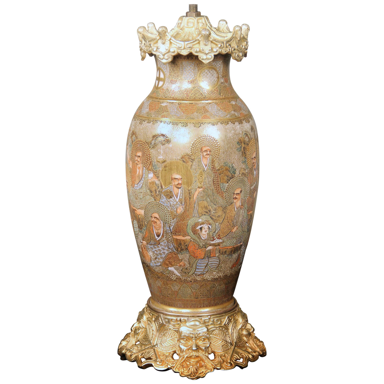 Fine Late 19th Century Gilt Bronze and Japanese Satsuma Porcelain Vase