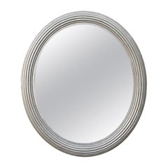 French Antique Silvered Oval Mirror, circa 1930