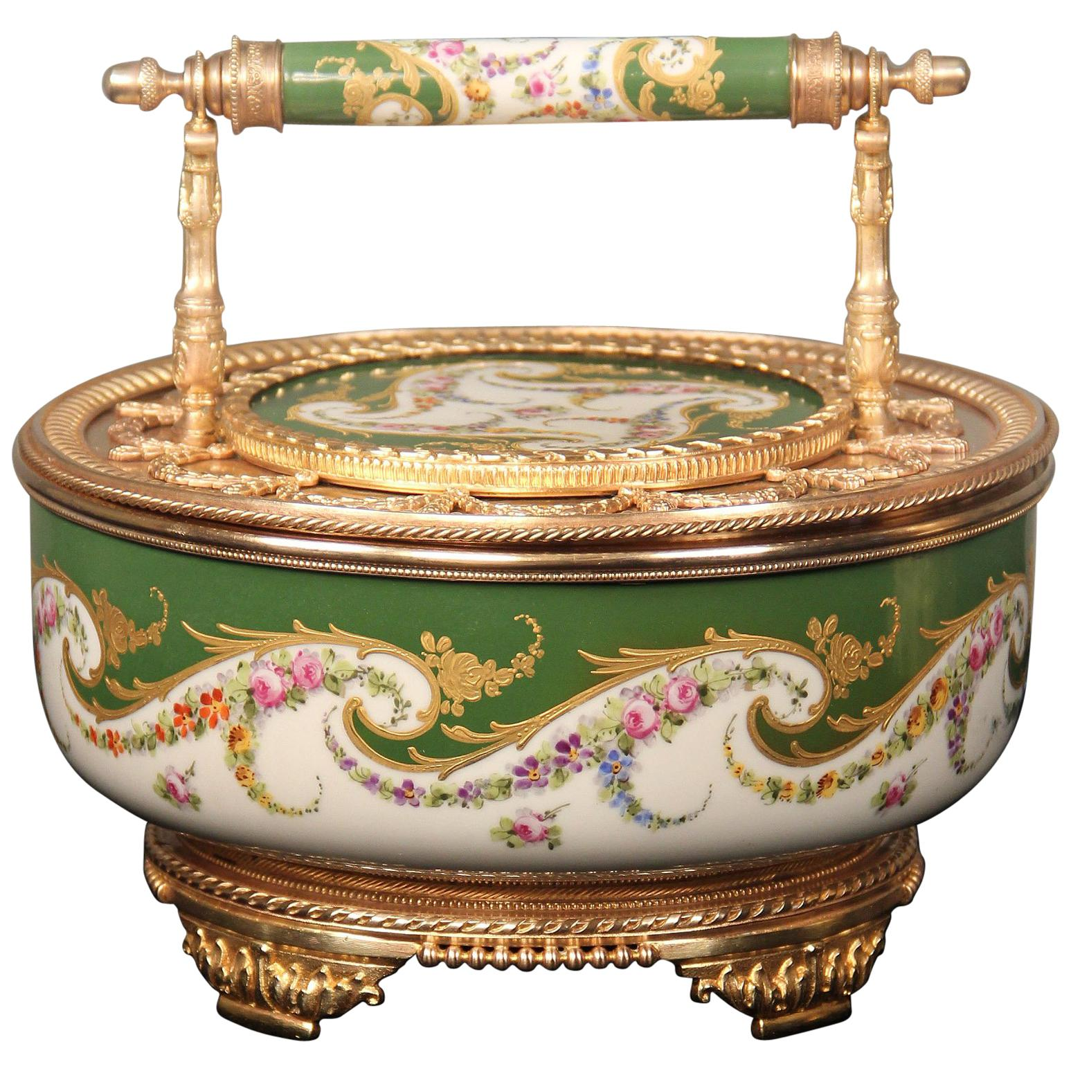 Beautiful 19th Century Gilt Bronze-Mounted Sèvres Style Porcelain Candy Dish
