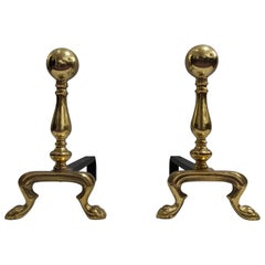 Pair of Early 20th Century Empire Polished Brass and Iron Andirons