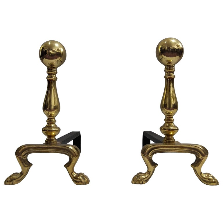 Pair of Early 20th Century Empire Polished Brass and Iron Andirons  For Sale