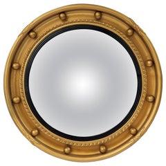 English Round Gilt Framed Convex Mirror (Diameter 16)
