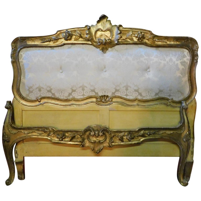 19th Century Antique Golden Bed with Damask Lined Headboard For Sale