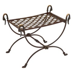 Steel and Bronze Antique Swan Stool