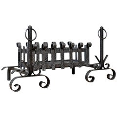 Antique Fire Basket on Andirons, Fire Dogs, English, Fireplace Grate, circa 1900