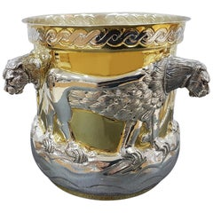Italian 20th Century Partially Gilded Sterling Silver Ice Bucket with Lions