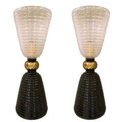 Paar Mitte des Jahrhunderts Moderne schwarz/weiß/Gold Murano Glas Tischleuchten, 1980er Jahre