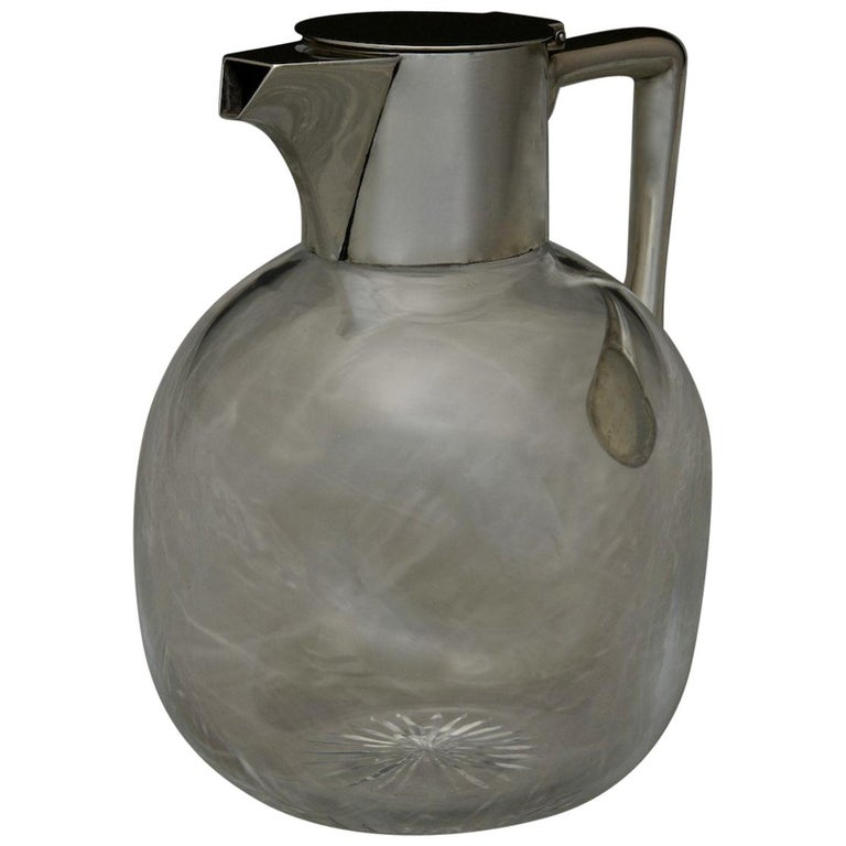 Sterling Silver Topped Cut Glass Claret Jug, Hallmarked 1890 For Sale