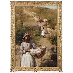 Rare Large Oil Painting of 'Les Lavandières' by Sir William Llewellyn PRA