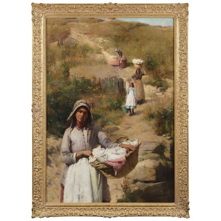 Rare Large Oil Painting of 'Les Lavandières' by Sir William Llewellyn PRA For Sale