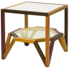 Side Table in Multiple Hardwood and Woven Cane, Brazilian Contemporary Design