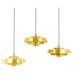 Set of Three Brass Nova Pendants by Jo Hammerborg for Fog & Mørup, 1960s
