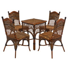 English Set of Wicker Chairs and Table