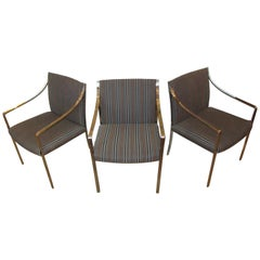 Set of 3 Pierre Cardin Chrome Armchairs