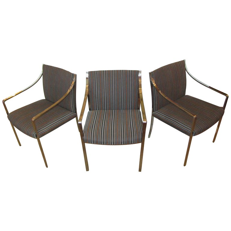Set of 3 Pierre Cardin Chrome Armchairs For Sale