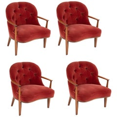 Set of Four Edward Wormley Walnut Armchairs for The Janus Collection of Dunbar