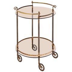 Brass and Smoked Glass French Bar Cart