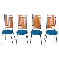 Arthur Umanoff for Shaver-Howard Mid-Century Modern High Back Dining Chairs, Set