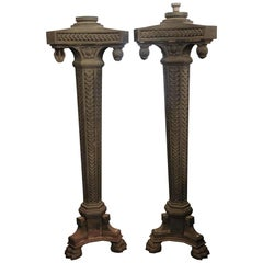 Pair of Cast Iron Exterior Claw Foot Lamp Posts, circa 1910