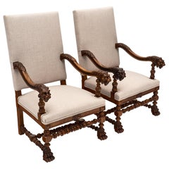 French Louis XIII Style Armchairs