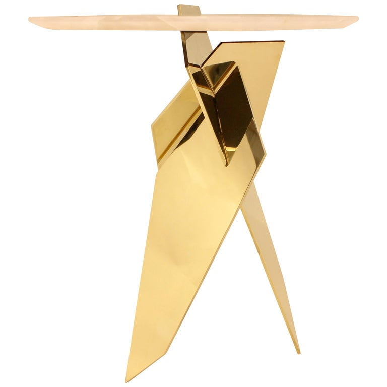 Sculptural Shard Table in Polished Bronze with Pink Onyx Top 1