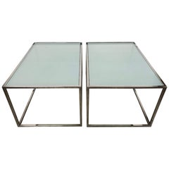 Pair of Milo Baughman Thin-Line Chrome and Glass Coffee, Cocktail, or End Table