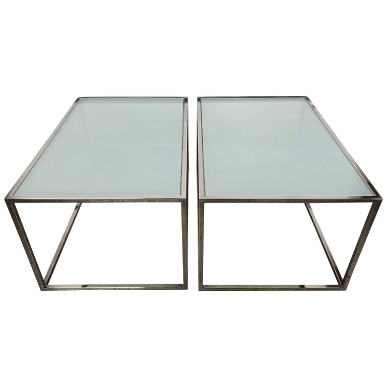 Pair of Milo Baughman Thin-Line Chrome and Glass Coffee, Cocktail, or End Table For Sale