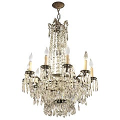 1920s Large-Scale Ten-Arm Crystal Chandelier