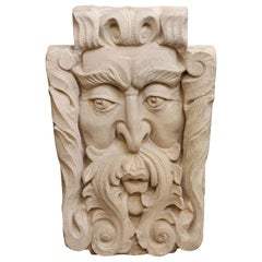 Figural Windface Carved Tan Limestone Frieze