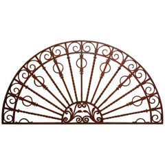 1890s Red Pinned and Clenched Wrought Iron Fan Shaped Transom
