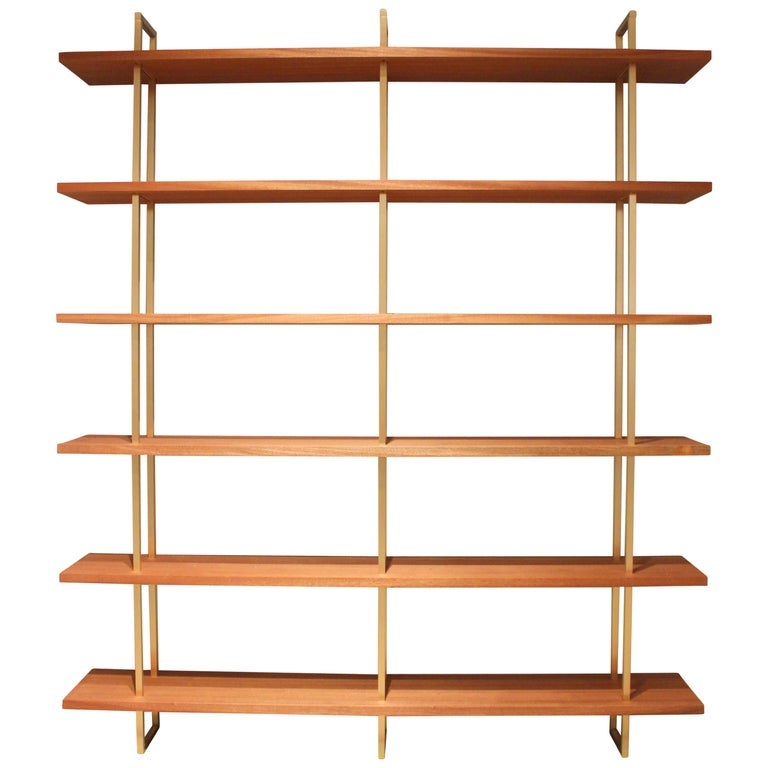 Garrison Floating Shelves in Bronze with Sapele Wood For Sale
