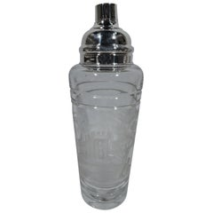 Large Antique Hawkes Glass and Sterling Silver Cocktail Shaker